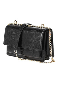 Solid Crocodile Flap Over Chain Strap Messenger Bag