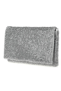 Solid All Over Rhinestone Flap Over Clutch With Chain Strap