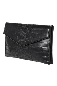 Solid Crocodile Flap Over Clutch With Chain Strap