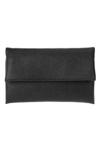 Solid Fold Over Lizard Embossed Clutch With Chain Strap