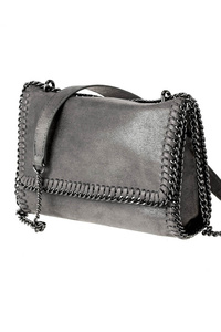 Solid Flap Over Chain Edged Messenger Bag With Chain Strap