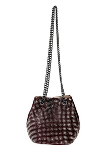 All Over Studs Bucket Style Draw Chain Bag With Strap
