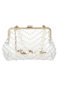 Clear Chevron Pattern Studs Clip On Clutch With Chain Strap