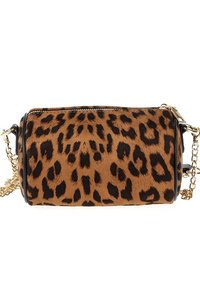 Leopard Print Oval Cylinder Messenger With Chain Strap