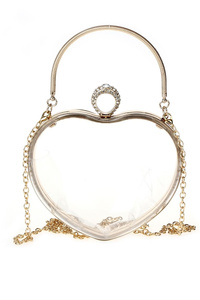 Clear Heart Shape Clip On Clutch With Chain Strap