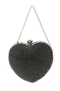 All Over Rhinestones Heart Shape Clip On Clutch With Chain Strap