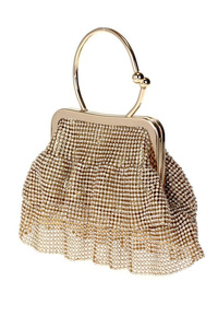 All Over Rhinestones Skirt Metal Frame And Ring Evening Bag