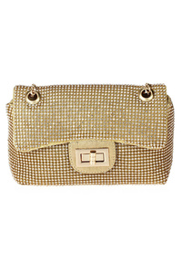 All Over Rhinestones Turn Lock Messenger With Chain Strap