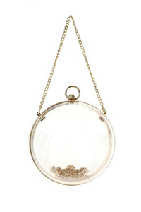 Clear See Through Metal Frame Round Clutch With Chain Strap