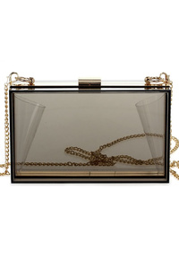 Clear See Through Rectangular Clip On Clutch With Chain Strap