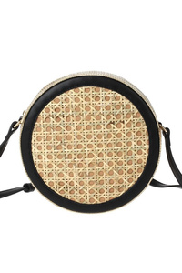 Front Edge And Back Round Straw Messenger With Strap