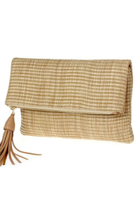 Solid Straw Flap Over With Tassels Clutch With Strap