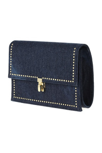 Denim Flap Over Turn Lock Clutch With Chain Strap