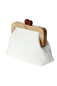 Solid Wood Framed Twist Lock Clutch With Strap