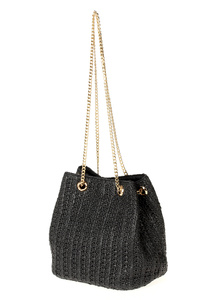 Solid Straw Chain Strap Bucket Bag With Magnetic Bag