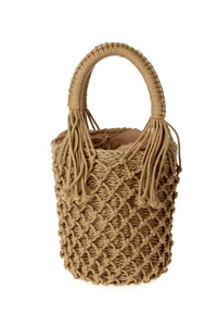 Knitted Bucket Style Straw Drawstring Bag