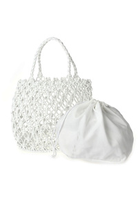 Solid Open Straw Bag With Inside Drawstring Pouch