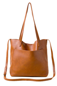 Solid Slim Double Handles With Shoulder Strap Tote Bag