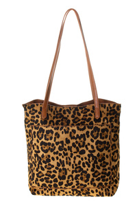 Leopard Slim Double Handles With Shoulder Strap Tote Bag