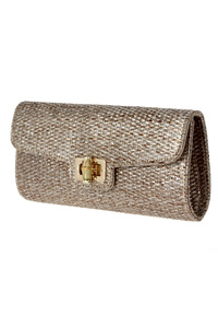 Straw Flap Over Clutch With Chain Strap
