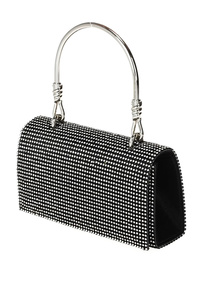 Top Handle All Over Rhinestones Flap Over Mini Clutch With Chain Strap