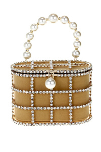 Crystal Basket With Pearl Lock And Handle Clutch