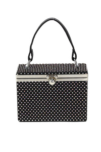 All Over Rhinestones Box Style Evening Bag With Single Handle
