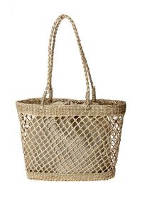 Solid Straw Net See Through Tote With Inner Pouch