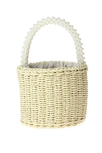 Solid Straw Bucket Bag With Beads Handle