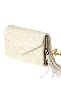 Solid Straw Flap Over With Tassel With Strap