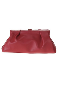 Solid Framed Oversize Faux Leather Clutch With Chain Strap