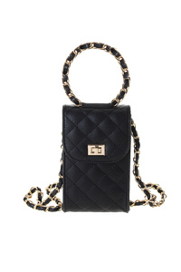 Solid Quilted Flap Over Messenger With Round Handle With Chain Strap