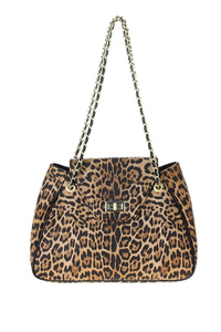 Leopard Flap Over Printed Tote With Chain Shoulder Strap