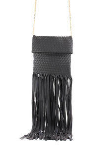 Solid Braided Fold Over Long Fringe Messenger With Chain Strap