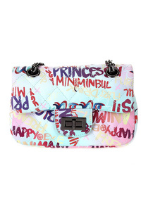 Graffiti Printed And Quilted Messenger With Chain Strap