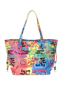 Graffiti Printed And Quilted Tote With Long Slim Handles