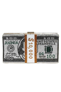Hundred Dollar Bill Beaded Clip On Clutch With Chain Strap