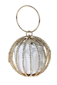 Round Rhinestone Metal Frame With Satin Evening Clutch