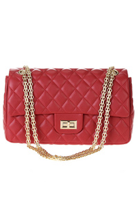 Solid Quilted Flap Over Turn Lock Messenger With Chain Strap