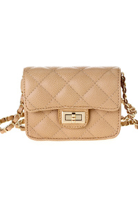 Small Solid Quilted Flap Over Turn Lock Messenger With Chain Strap
