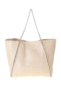 Solid Straw Tote With Chain Strap