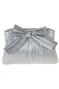 Ribbon Accented Shinning Evening Bag With Chain Strap