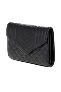 Solid Quilted Flap Over Clutch With Chain Strap