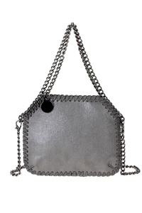 Solid Chain Accented Double Handle Tote Bag
