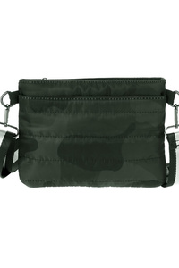Quilted Zipper Top Messenger Bag With Fabric Strap