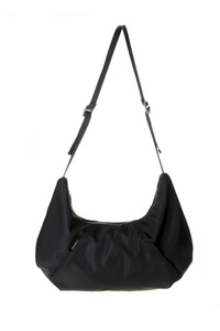 Solid Single Handle Nylon Hobo Bag