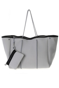 Solid Neoprene ( synthetic rubbers ) Slim Handle Tote Bag With Pouch