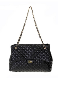 Solid Flap Over Quilted Chain Strap Shoulder Bag
