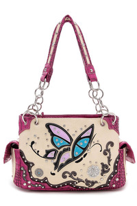 Western Cowgirl Butterfly And Rhinestone Accented Satchel Bag