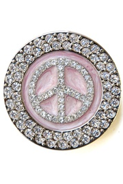 Peace Sign LOGO Rhinestone Handbag Hanger Diameter: 1.75